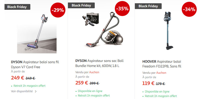 auchan solde ses aspirateurs 35 dyson black friday france. Black Bedroom Furniture Sets. Home Design Ideas