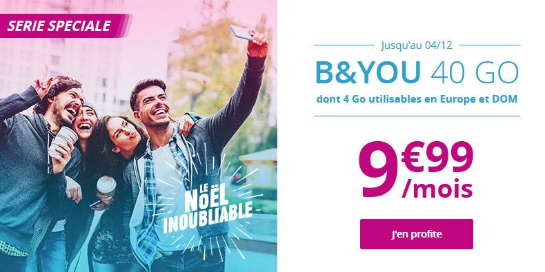 Forfait B&You 40GO à 9,99€/mois à vie !
