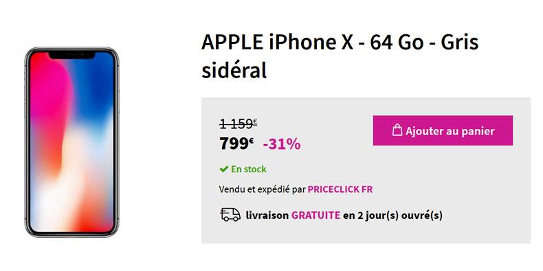 iPhone X – 64 Go – Gris sidéral  à 789€ soit -31% chez Pixmania