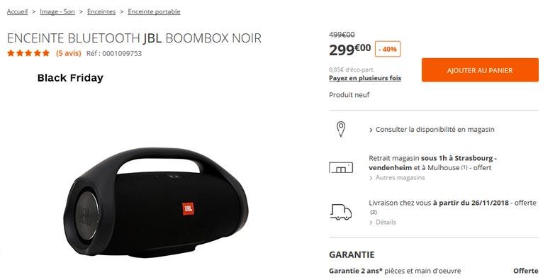 enceinte bluetooth jbl boombox 299 au lieu de 499 40 black friday france. Black Bedroom Furniture Sets. Home Design Ideas