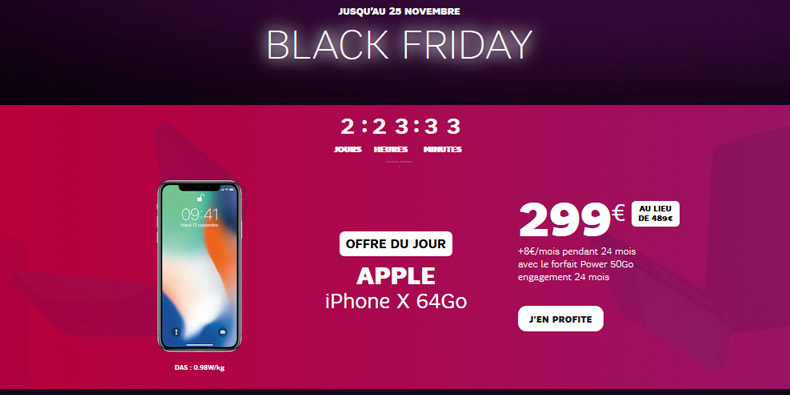 iphone x 299 avec un abonnement chez sfr black friday france. Black Bedroom Furniture Sets. Home Design Ideas