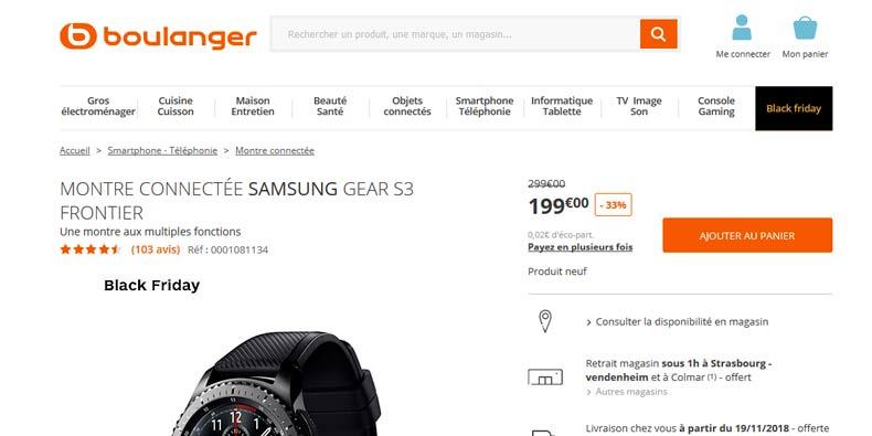 -33% sur la Samsung Galaxy Gear S3 (-100€)