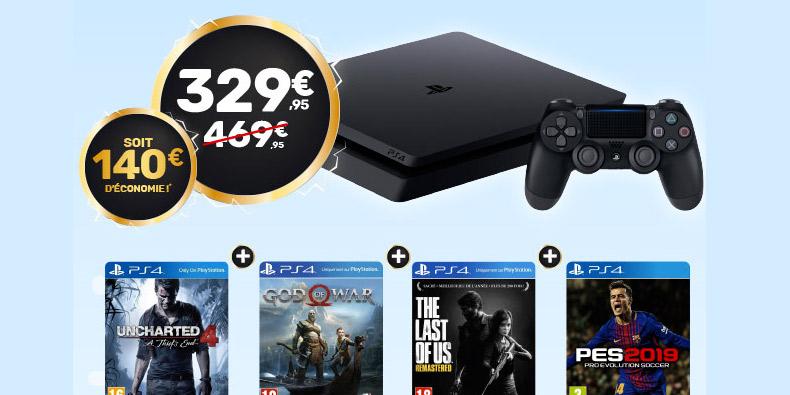 PS4 + 4 Hits à 329€ au lieu de 469€ chez Micromania