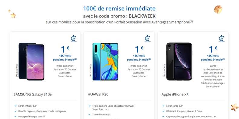 100€ de remises sur des smartphones chez Bouygues Telecom