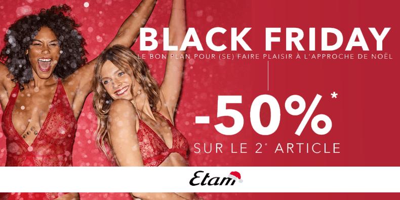 -50% sur le deuxième article lingerie chez Etam !