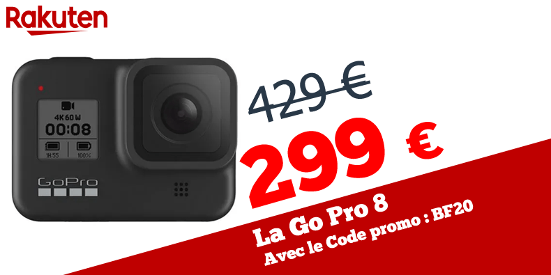 La Go pro 8 à 299,99€ au lieu de 429 € chez Rakuten