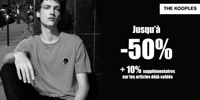 Jusqu'à -50%  sur la collection homme The Kooples!