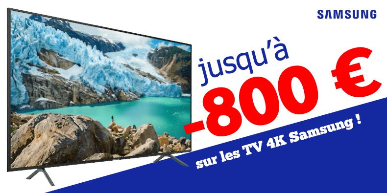 Jusqu'à -800€ sur les TV 4K Samsung !