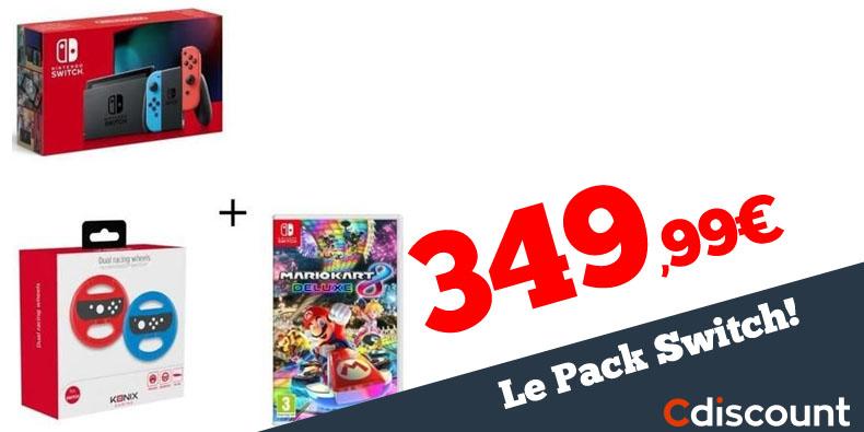 349,99€ le Pack Nintendo Switch+ 2 volants + Mario Kart 8 chez Cdiscount !